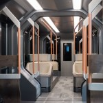Every piece of the Russian One, other than the accordion connectors and door mechanism, was designed by manufacturer UralVagonZavod. Read more: http://uk.businessinsider.com/photos-of-russias-futuristic-new-tram-2015-1?op=1#ixzz3Ujkx5QSw